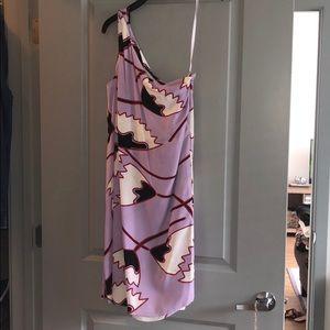 DVF Purple One Shoulder Dress
